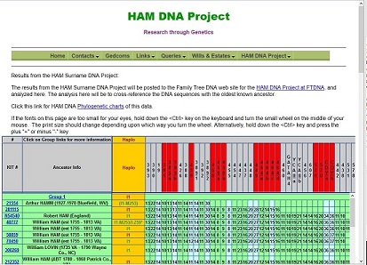 HAM DNA Results